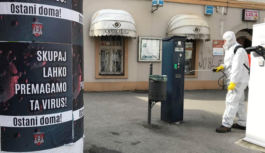 V Slovenski Bistrici želijo virus premagati tudi z razkuževanjem javnih površin