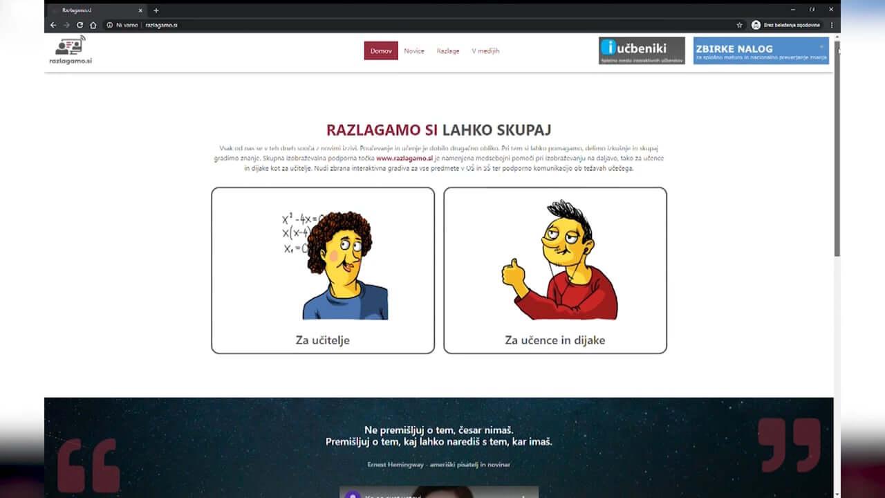 Portal za pomoč pri izobraževanju na daljavo
